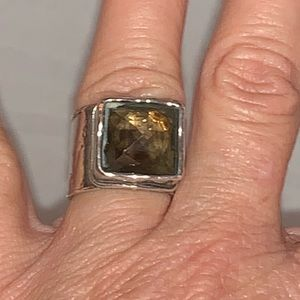 Silpada Smokey Quartz wide band ring